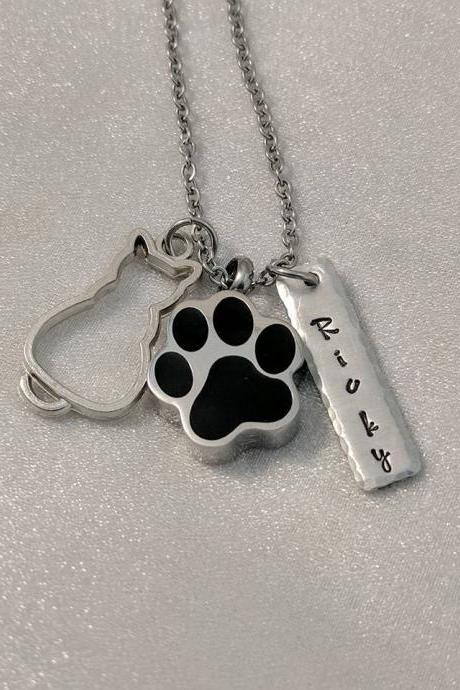 Pet Memorial Hand Stamped Necklace-Pet Loss Gift-Personalized Pet Loss Necklace-Loss of Cat Gift-Cat Memorial Gift-Paw Urn Necklace-Cremation Urn-Ash Urn