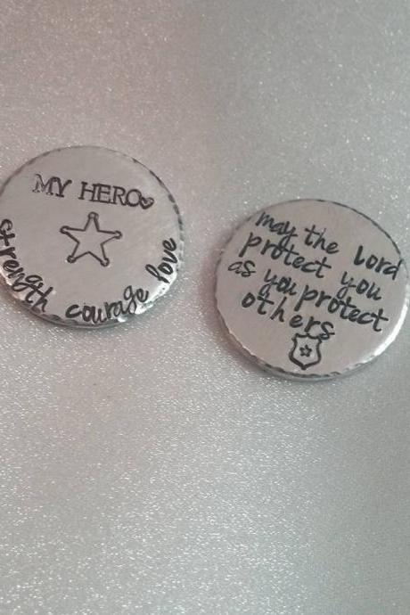 Pocket Tokens - Police Officer Gifts - Husband Gift - Daddy Gift - Stay Safe Token - Hero Gift - Love Token - Lucky Token - Gift for Him