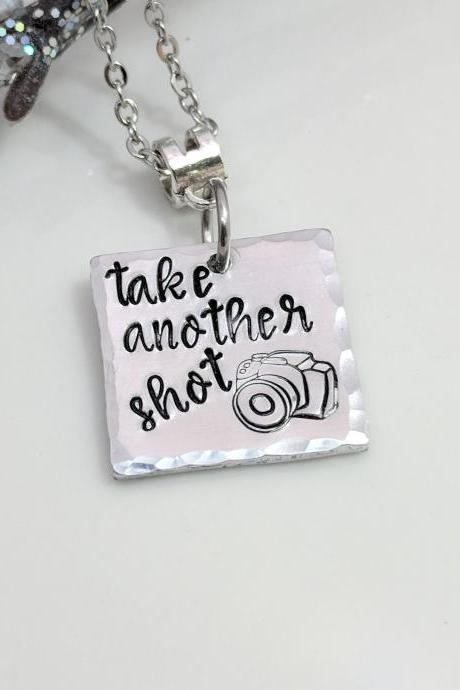 Photographer Gift-Camera Hand Stamped Necklace-Photography Jewelry-Take Another Shot-Hand Stamped Jewelry-Metal Stamped Jewelry-Exquisite Stamp Design