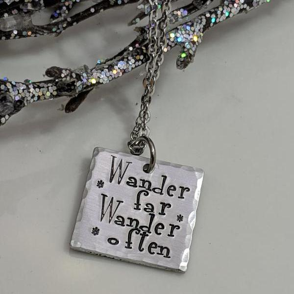 Wander Far Wander Often - Travel Jewelry - Wander Necklace - Adventure - Wanderlust - Journey