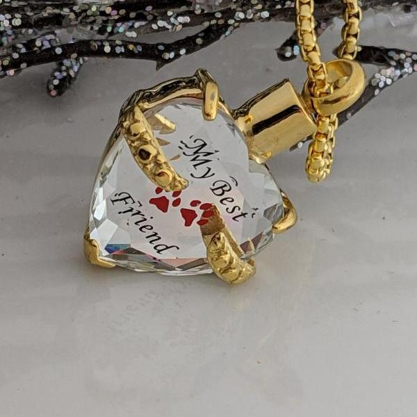 Ready to Ship - Gold Heart Pet Urn - Pet Ash Holder - My Best Friend - Paw Print - Cremation Urn - Pet Loss - Gold Stainless Steel