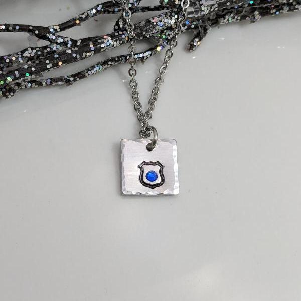Police Wife- Necklace- Police Badge- Back the Blue- Jewelry- Blue Stone- Petite Necklace- Support Police- Law Enforcement- Christmas Gift