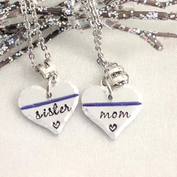 Police Mom Jewelry - Police Wife Jewelry - Hand Stamped - Thin Blue Line Support - Police Officer - Cop Wife - Cop Gifts - LEO - Police Love