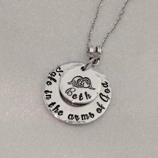 Infant Loss Memorial - Baby Loss Gift - Angel Baby - Personalized- Loss of Child Jewelry- Stillbirth- Miscarriage- Safe In The Arms Of God
