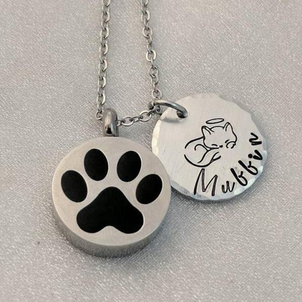 Pet Memorial - Loss of Pet Urn - Pet Loss Keepsake - Customized Pet Loss Necklace - Cat Remembrance - Loss of Cat Urn Necklace - Ash Holder