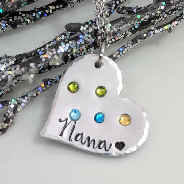 Grandma Necklace-Nana Necklace-Gift for Grandma-Grandkids Birthstone Necklace-Valentine's Day Gift-Heart Necklace-Exquisite Stamp Design
