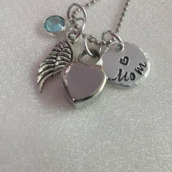 Urn Necklace - Ashes Jewelry - Urn for Ashes - Personalized - Hand Stamped - In Memory Of - Memorial Keepsake - Keepsake Jewelry - Wing