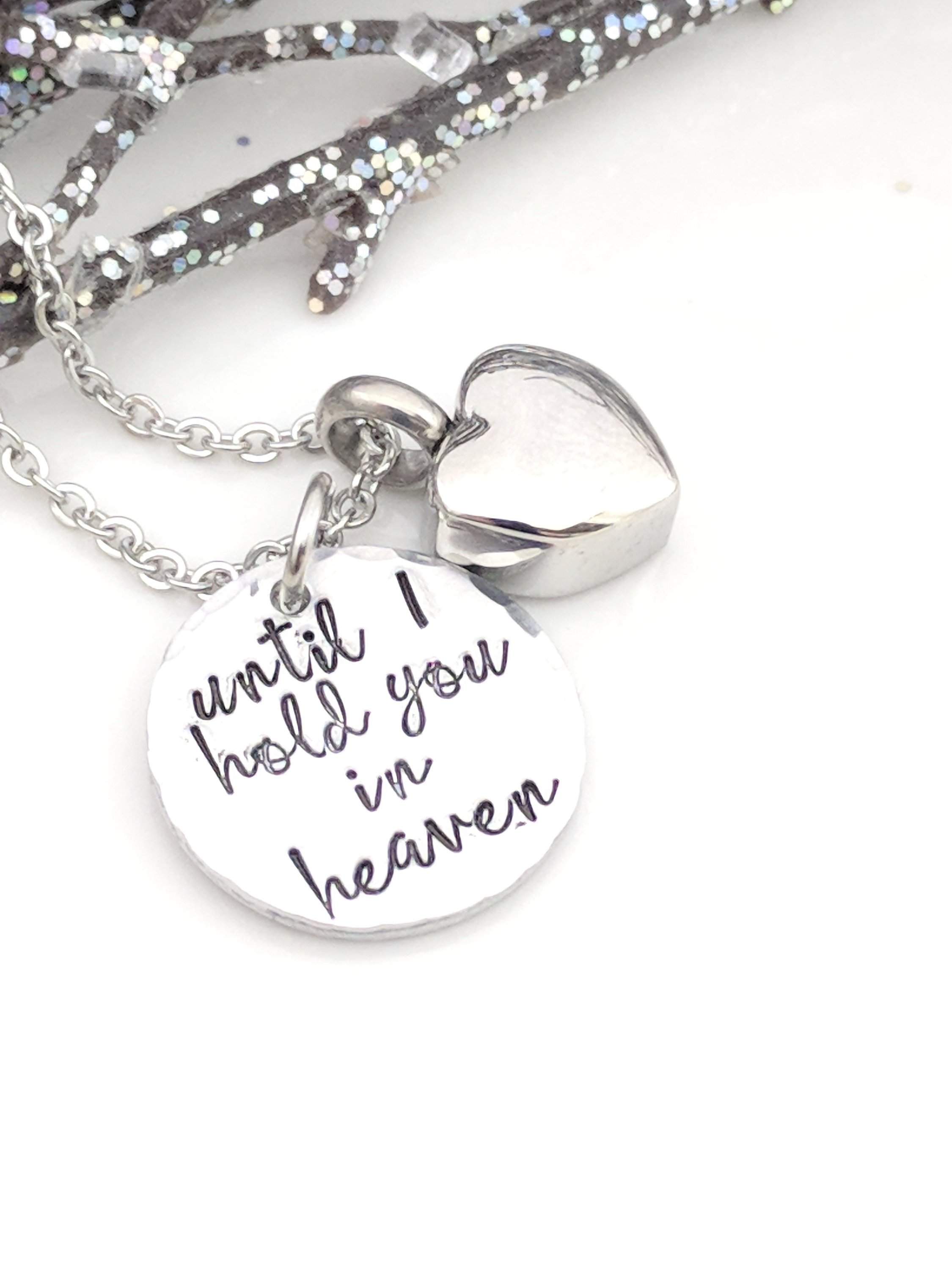 Hand Stamped Necklace Sympathy Gift Loss Of Loved One Hand Stamped Keepsake Jewelry Heart Urn Jewe On Luulla